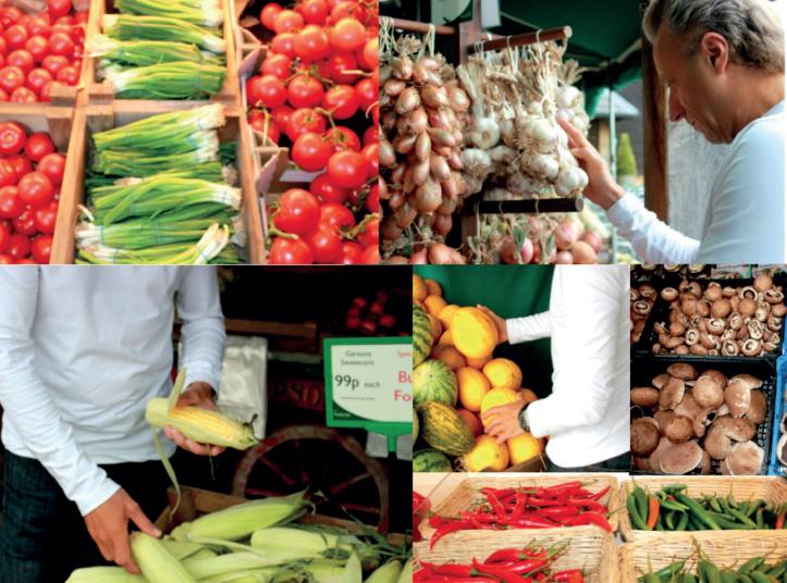 Verschiedes Obst und Gemüse im Bioladen